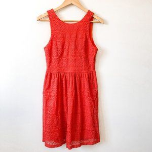 Everly Red Orange Lace Fit & Flare Dress Sz Large